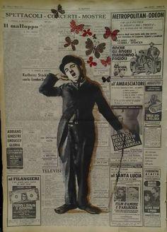 "Saatchi Art dell'artista Carlo Capone;  Pittura #art, ""Charlie Chaplin"""