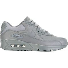 Nike Air Max 90 Pinnacle Sneakers ($162) ❤ liked on Polyvore featuring shoes, sneakers, grey, leather sneakers, lacing sneakers, nike sneakers, gray sneakers and grey shoes