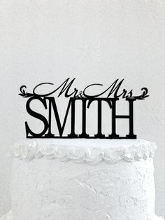 Mr and Mrs Smith Wedding Cake Topper by CakeTopperDesign on Etsy
