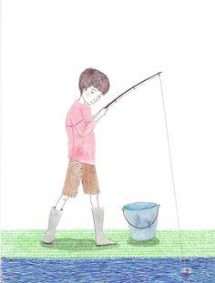 Técnica mixta, niño de pesca
