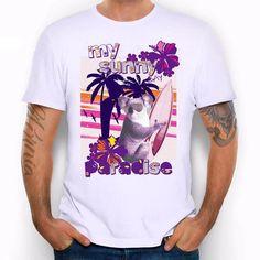 Men's Sunny Slim Bear Vacation Print T-Shirt Summer Paradise Men Animal Hipster Short Sleeve O-Neck Tops Tees