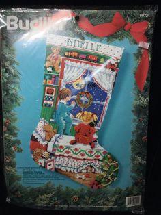 1994 Bucilla Christmas Wishes Needlepoint Stocking Kit 60721 Sealed Vintage #Bucilla