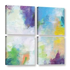 ArtWall Jan Weiss's 'Beyond the Line 2' Gallery 4 Piece Gallery Wrapped Canvas Square Set