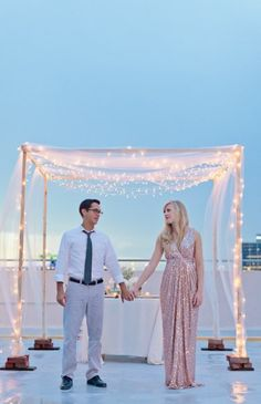 String Lights Chuppah, Wedding Canopy from Style Me Pretty - mazelmoments.com Keywords: #weddings #jevelweddingplanning Follow Us: www.jevelweddingplanning.com  www.facebook.com/jevelweddingplanning/