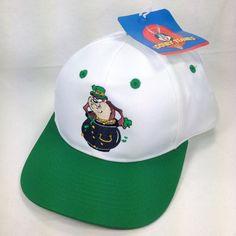 Taz Tasmanian Devil Leprechaun Pot Of Gold Shamrock Vtg Snapback Trucker Hat Cap #LooneyTunes #Trucker
