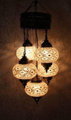 Turkish Mosaic Chandelier - Gold & Diamond