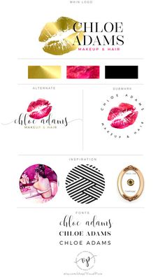 Branding Package Gold Lips Makeup Artist Logo by VisualPixie