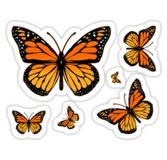 butterfly themed sticker pack - orange 6 stickers in 1 pack price : 2 USD / 130 inr Stickers Cool, Tumblr Stickers, Printable Stickers, Laptop Stickers, Homemade Stickers, Journal Stickers, Aesthetic Stickers, Monarch Butterfly, Butterfly Stencil