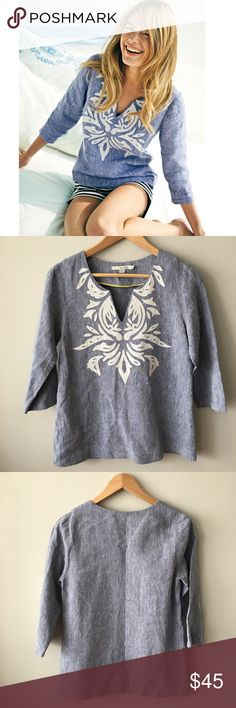 """Boden Sicily Top - Chambray Our beach cover-up comes with an iconic applique design and the best quality linen you'll lay eyes on all season. Go forth and seek sun.  ·         Color: Chambray Blue ·         ¾ sleeves ·         100% linen ·         Relaxed fit - approx. 26.5"""" long ·         Machine Wash  Super versatile – goes great over swim suit or as a top over shorts or pants. Lightly worn and washed a few times – no stains, holes, or pilling – excellent, pre-owned condition. Bundle…"""