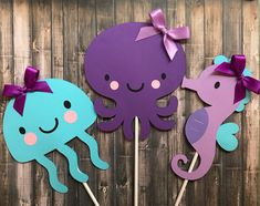 Under the Sea centrepieces, Beach Party, Under The Sea Party  decorations, Baby Shower Birthday Decorations, Octopus Jelly Fish Seahorse by lilcraftychickadee on Etsy https://www.etsy.com/ca/listing/594265629/under-the-sea-centrepieces-beach-party