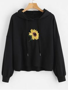 Buy Sequin Flower Hoodie hoodie is Made To Order, one by one printed so we can control the quality. We use newest DTG Technology to print on to Sequin Flower Hoodie Hoodie Sweatshirts, Pullover Hoodie, Sweater Hoodie, Cute Hoodie, Sweatshirt Outfit, Black Hoodie Outfit, Hoody, Mode Kimono, Jugend Mode Outfits