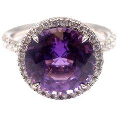 TIFFANY & CO. Purple Sapphire Diamond Platinum Ring