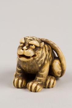 Netsuke of Seated Tiger, Tail Resting on his Back; | Edo period (1615–1868)…