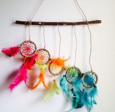 Dream catcher multi coloured stick hanging wall decor pink orange yellow green blue dreamcatcher with feathers
