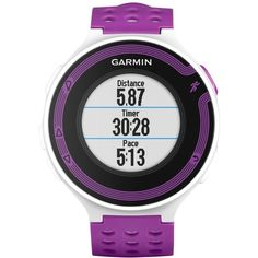 Garmin Forerunner 220 Sports Watch, White/Purple ($320) ❤ liked on Polyvore featuring jewelry, watches, sport watch, white jewelry, white watches, mens wrist watch and garmin