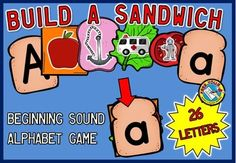 BUILD A SANDWICH GAME! This fun original game will surely engage all students and can be played individually or in small groups. Students assemble sandwiches by matching each lowercase letter with the pictures that start* with that letter and also with the uppercase letter. They will surely have a blast!  *All sandwich pieces include pictures that begin with the alphabet letter sounds except for letter x. For the latter, focus is on the final sound.