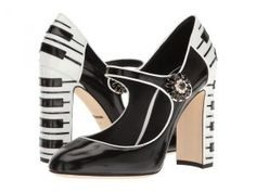 Dolce & Gabbana Leather Mary Jane Pump w/ Piano Heel (Black) Women's Shoes