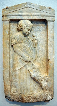 """Grave Stele of a Young Girl, """"Melisto"""", c. 340 BC Sculpture Attica, Europe Classical period"""
