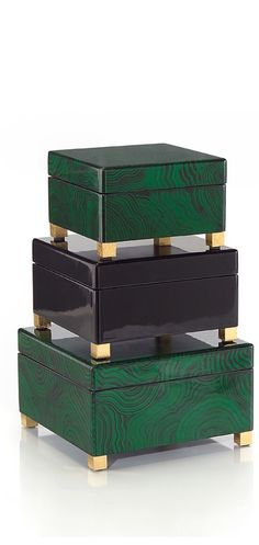 Malachite Dressing Table Boxes, so beautiful,  one of over 3,000 limited production interior design inspirations inc, furniture, lighting, mirrors, tabletop accents and gift ideas to enjoy repin and share at InStyle Decor Beverly Hills Hollywood Luxury Home Decor enjoy  happy pinning