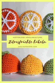 Orange, Zitrone und Limette häkeln - die kostenlose Häkelanleitung auf meinem Blog eatcrochetlove.com Crochet Food, Knit Crochet, Crochet Hats, Diy Art, Crochet Earrings, Orange, Knitting, Black, Crocheted Animals