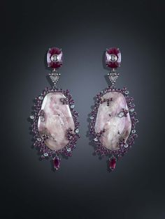 One-of-a-kind Luz Camino Corundum earrings in silver and gold, set with Corundum, tourmaline, diamonds and rubies.