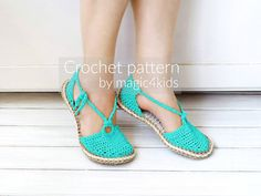 Crochet pattern-ring sandals with rope solessoles pattern