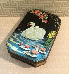 Gorgeous c 1920s Vintage Tin White Swan Black Tin by tinprincess