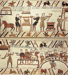 Nobles feasting, as depicted on the Bayeux Tapestry. By special permission of the City of Bayeux.  Detail of the Bayeux Tapestry, 11th century