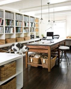 30 Incredibly Organized Creative Workspaces - farmhouse work room, craft room, shelving