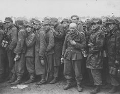 German prisoners of war in the Netherlands in line for food. 1944