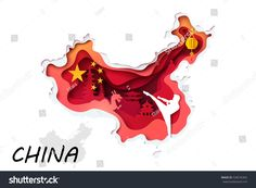 Abstract of paper carve on white foreground to china map and Chinese culture symbol, paper art concept and tourism idea, vector art and illustration.