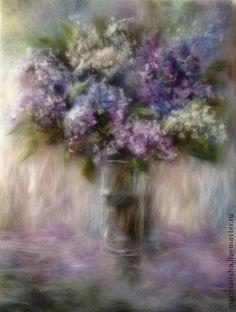Картина из шерсти Сирени пышное цветенье. Картина выложена сухой овечьей шерстью на ткань под стекло, добавлены шелковые волокна, придающие картине блеск, а букету сирени-объем. Картина украсит Вашу спальню, гостиную, а может, станет…