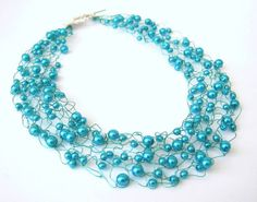 Turquoise Knitted Wire Necklace Beaded Collar by frenchsoul, $31.00