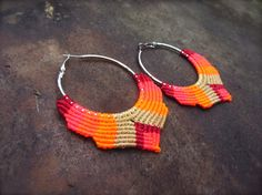 Macrame hoop earrings with sand beige, cherry and fluorescent shades of pink and orange