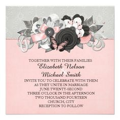 Grey Damask Butterfly Floral Wedding Invite