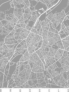 Brussels map pink Art Print