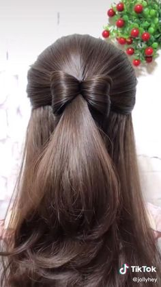 Front Hair Styles, Medium Hair Styles, Curly Hair Styles, Bun Hairstyles For Long Hair, Hairstyles With Ribbon, Hairstyles For Girls Easy, Easy Wedding Hairstyles, Middle School Hairstyles, Easy Formal Hairstyles
