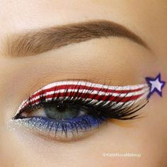 Happy July 4th! - 4th of July inspired patriotic eye makeup look #holiday #makeup  Red, White and Blue #facepaintingbusinesstips
