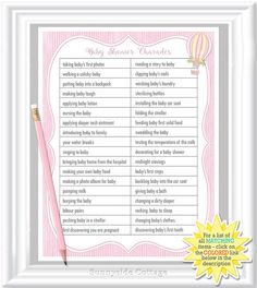 CHARADES Game For Your Baby Shower In A Classic/whimsical