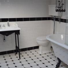 Octagon Floor Tiles - Browse Kitchen and Bathroom Floor Tiles in a Range of Designs Victorian Tiles Bathroom, Victorian Toilet, Tiny House Bathroom, Vintage Bathrooms, Bathroom Design Small, Bathroom Interior Design, Black And White Bathroom Floor, Black Tile Bathrooms, White Subway Tile Bathroom
