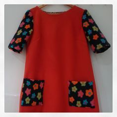 Fleece Esme dress #3 by Ivy Arch made from leftover fabrics - the red fleece is remnant from sewing Christmas cushions, sleeves and pockets are from an outgrown top made for my daughter. #LottaEveryDayStyle