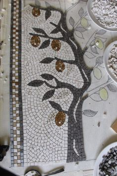 Lemon tree mosaic, work in progress. Photo and mosaic: Helen Miles Mosaics.