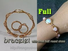 Wire Eye bracelet with small half round pink quartz and opalite – full version ( slow ) 326 – LanAnh Handmade Wire Jewelry Designs, Handmade Wire Jewelry, Copper Jewelry, Wire Wrapped Jewelry, Jewelry Crafts, Copper Bracelet, Wire Crafts, Copper Wire, Earring Tutorial