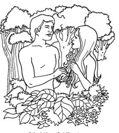 Adam and Eve Catholic Coloring Page for the Story of