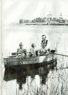 Alajärvi is my home town! Here is Alvar Aalto with his children (?) rowing on Alajärvi. The town church can be seen in the background. Alvar Aalto, Rowing, Finland, Canning, Children, Art, Young Children, Art Background, Boys