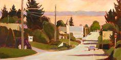 "Lisa Snow Lady, Drive Into Town, Acrylic on Wood Panel, 24""x48"""