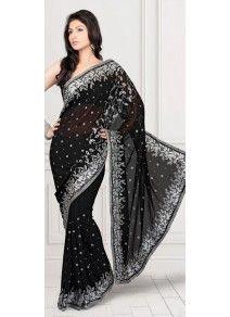 Subtile Sari noir en mousseline de