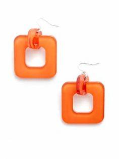 Zenzii Square Earrings - Orange