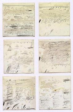 Cy Twombly Poems to the sea i-vi, 1959  oiil graphite, wax on paper.