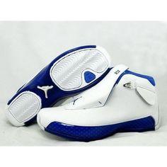 d4778b1d5777 Mens Nike Air Jordan 18 Retro White Blue Mens Nike Air